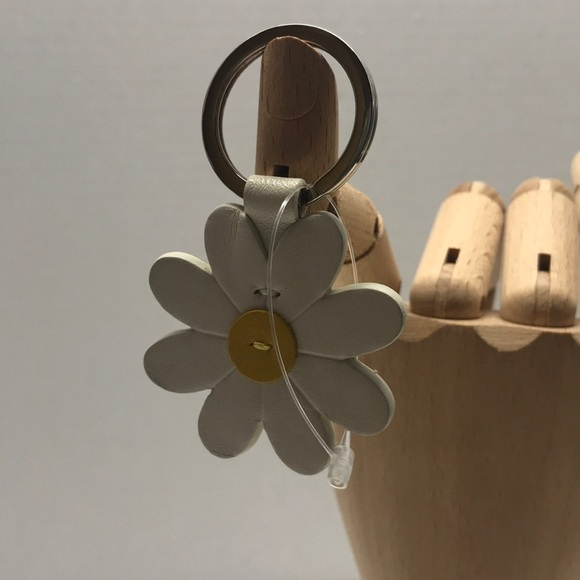 COACH White Daisy Leather Keychain